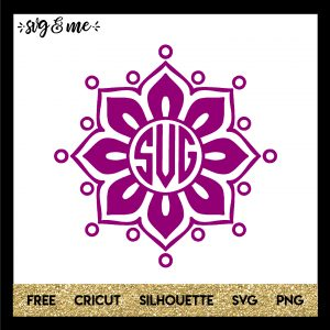FREE SVG CUT FILE for Cricut, Silhouette and more - Floral Mandala Monogram SVG