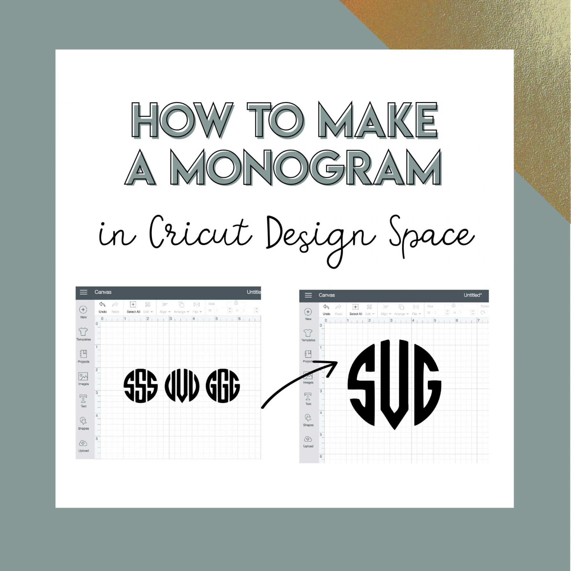 how to create a monogram in cricut design space svg me