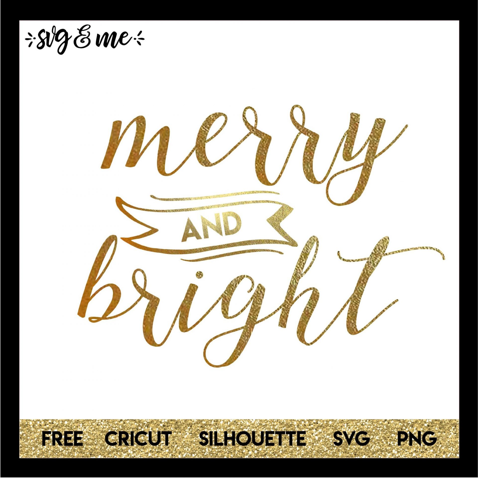 Merry And Bright Simple Script Svg Me