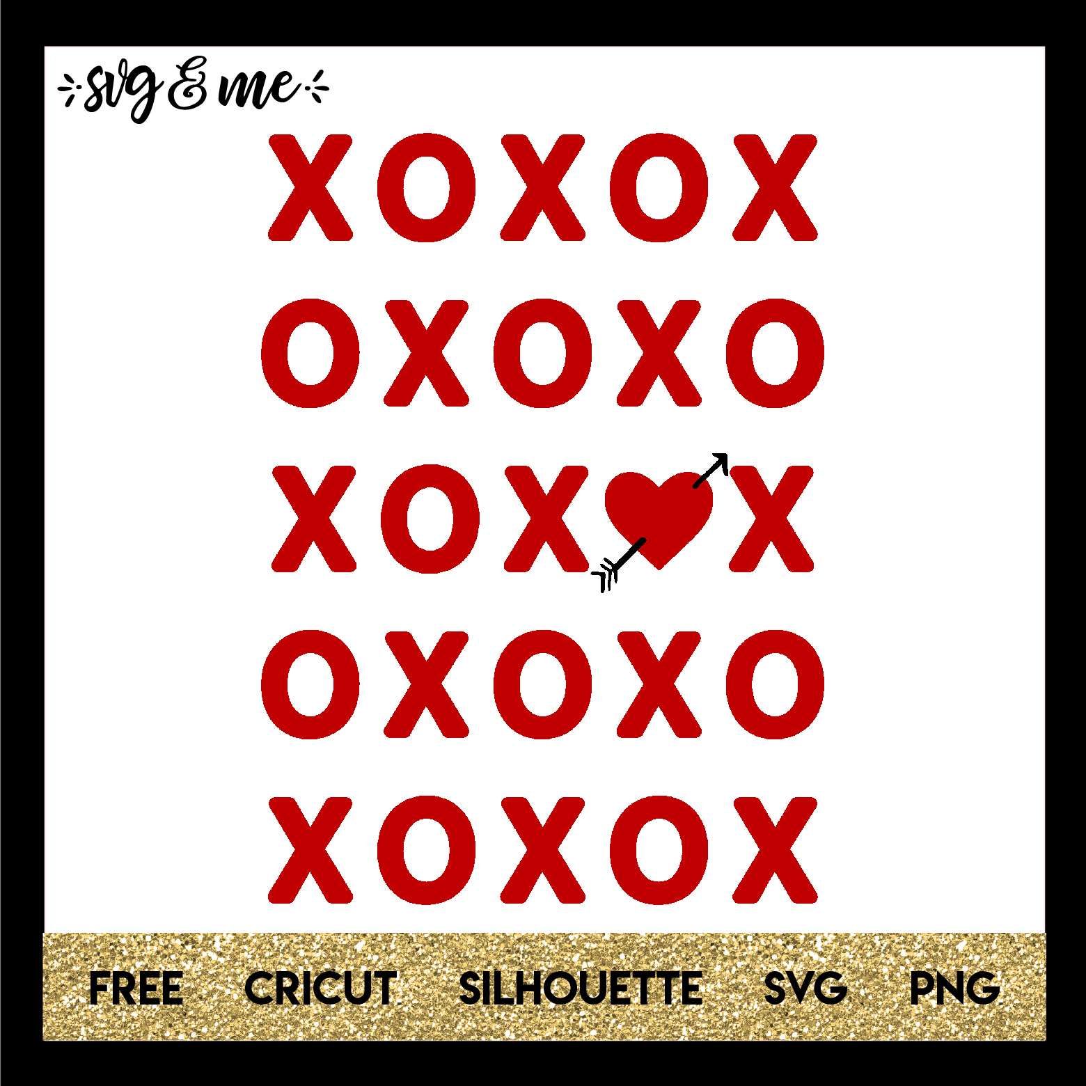 FREE SVG CUT FILE for Cricut, Silhouette and more - XO Valentine's Day Free Printable
