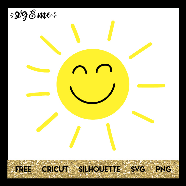 FREE SVG CUT FILE for Cricut and Silhouette DIY Projects - Cute Happy Sun SVG
