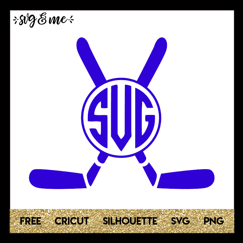 FREE SVG CUT FILE for Cricut and Silhouette DIY Projects - Hockey Sticks Monogram SVG