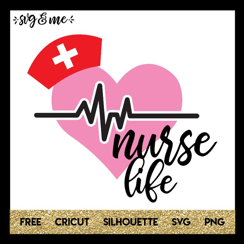 Nurse Life Heart Wearing Hat Svg Me