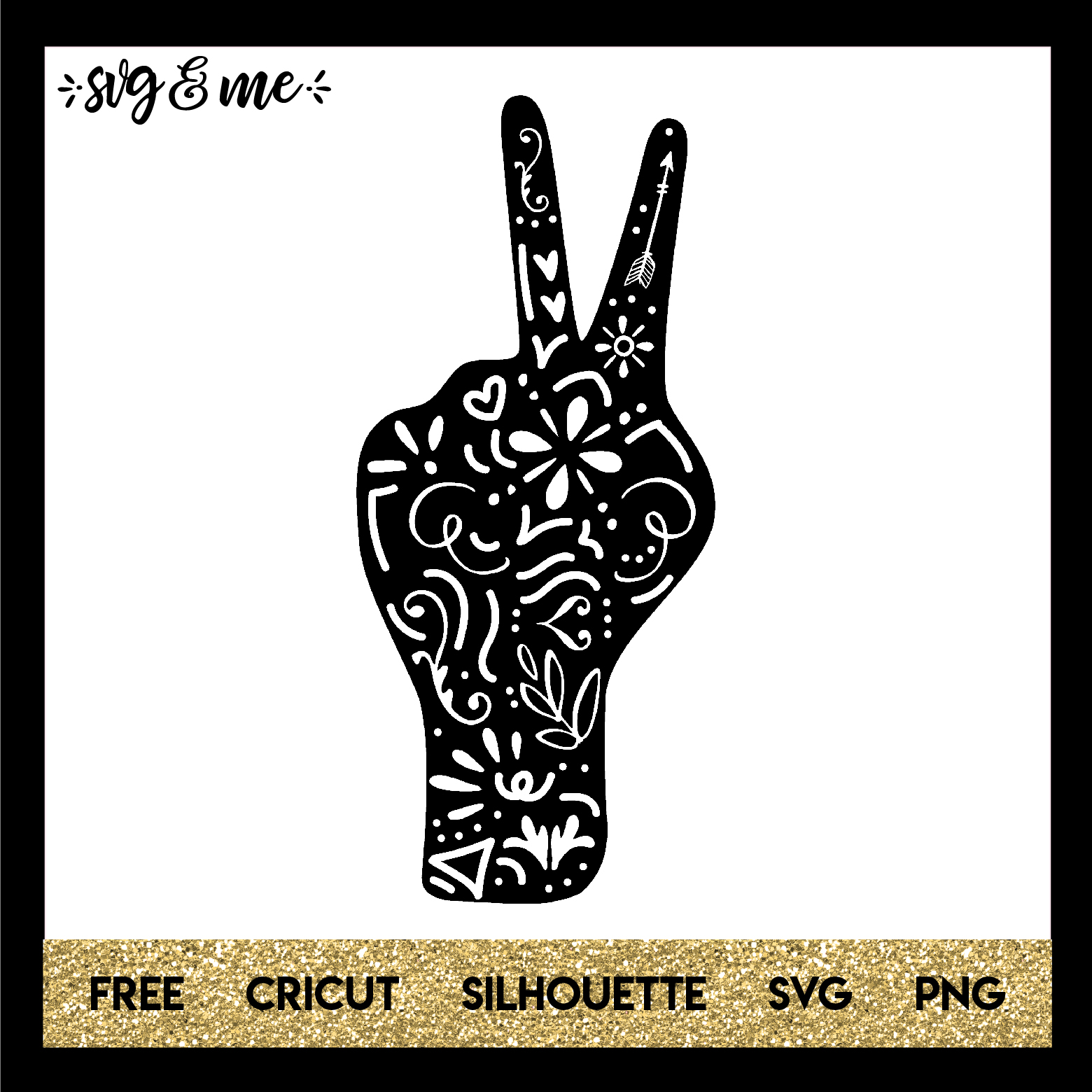 FREE SVG CUT FILE for Cricut and Silhouette DIY Projects - Inspirational Peace Hand Doodle SVG