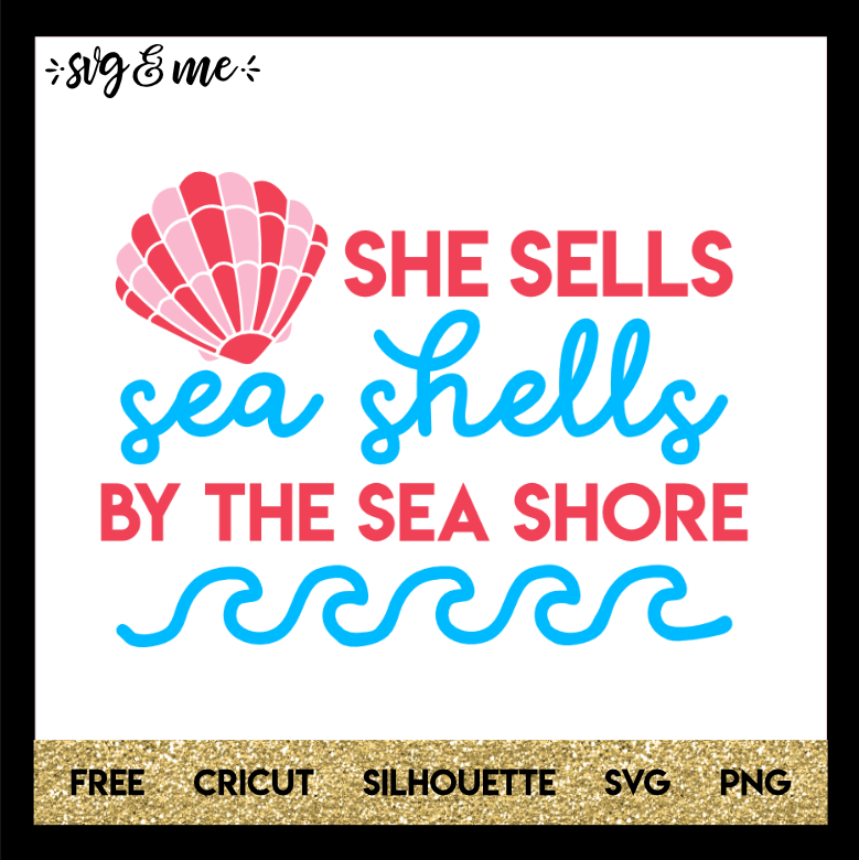 FREE SVG CUT FILE for Cricut and Silhouette DIY Projects - She Sells Sea Shells Beach SVG