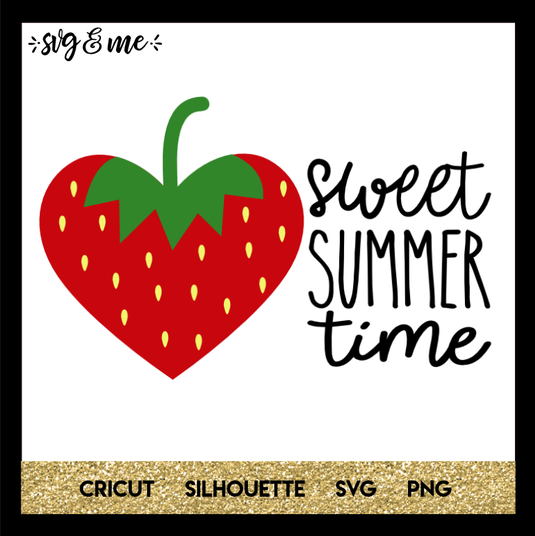 FREE SVG CUT FILE for Cricut and Silhouette DIY Projects - Sweet Summertime Strawberry SVG