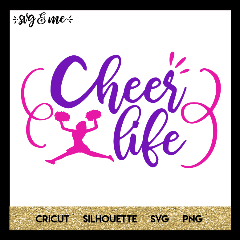 cheer life pink and purple svg me