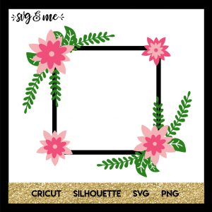 FREE SVG CUT FILE for Cricut, Silhouette and more - Floral Square Monogram Wreath SVG