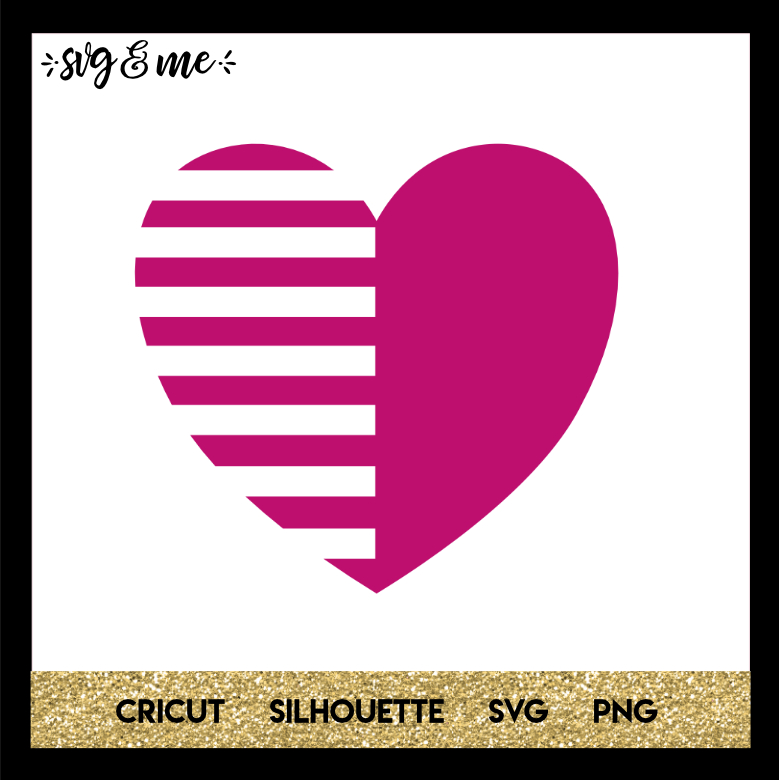 FREE SVG CUT FILE for Cricut and Silhouette DIY Projects - Striped Heart SVG