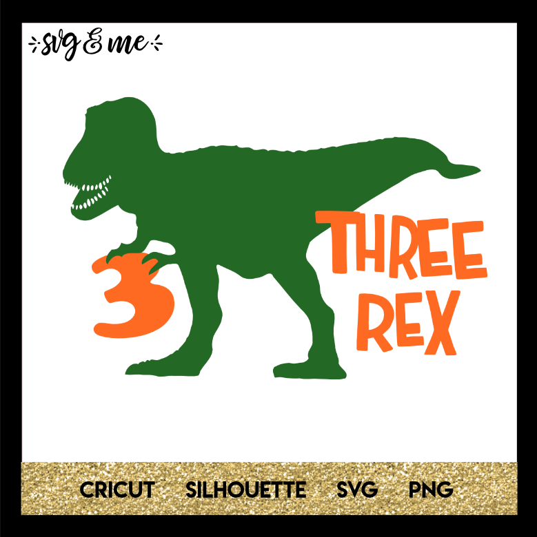FREE SVG CUT FILE for Cricut and Silhouette DIY Projects - Three Rex Third Birthday Dinosaur SVG