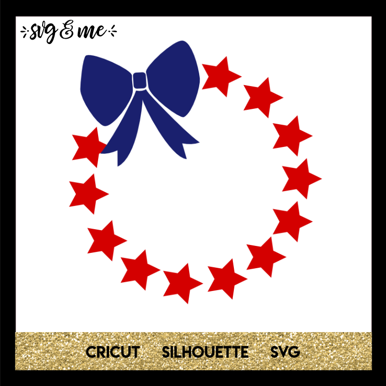 FREE SVG CUT FILE for Cricut, Silhouette and more - 4th of July Patriotic Monogram Wreath SVG