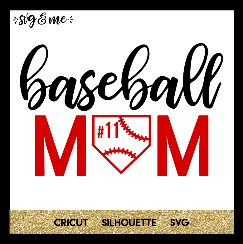 FREE SVG CUT FILE for Cricut, Silhouette and more - Baseball Mom Jersey Number SVG