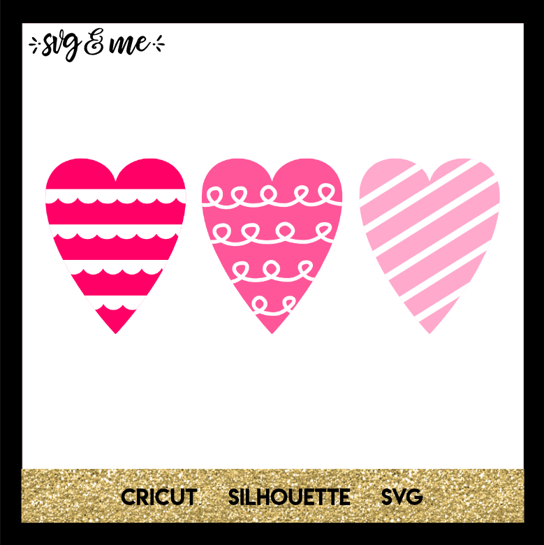 FREE SVG CUT FILE for Cricut, Silhouette and more - Heart Trio Valentine's Day SVG